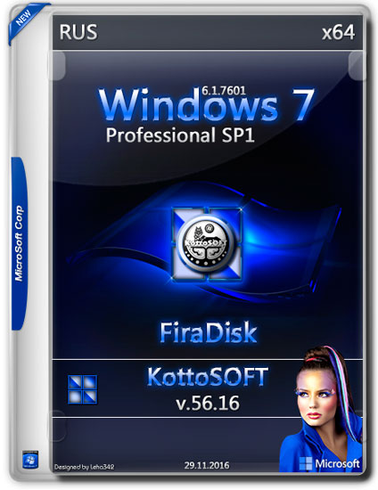 Windows 7 Professional SP1 x64 v.56.16 KottoSOFT FiraDisk (RUS/2016)